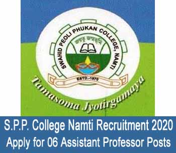 SPP College Namti Recruitment 2020