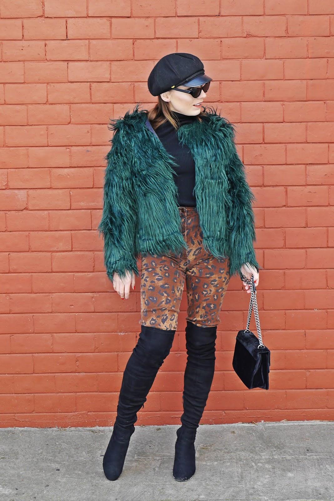 zielone futerko panterkowe spodnie kozaki za kolano renee czarny golf karyn blog modowy blogerka modowa