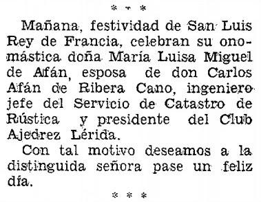Sobre Carlos Afán de Ribera Cano, Diario de Lérida, 24/8/1969
