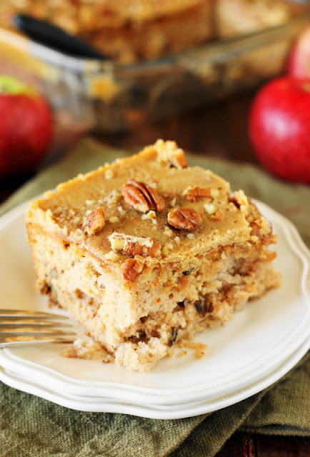 Old-Fashioned Apple Cake Image ~ Loaded with fresh apples, iced with boiled caramel topping, & studded with crunchy pecans, this is one stunningly delicious apple dessert.