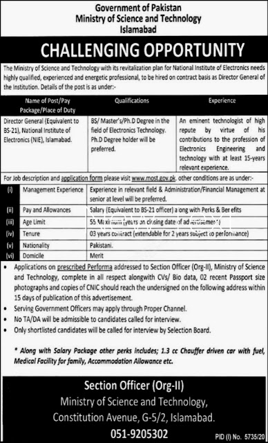 Latest New Islamabad Jobs 2021-Govt of Pakistan Ministry of Science and Technology Islamabad
