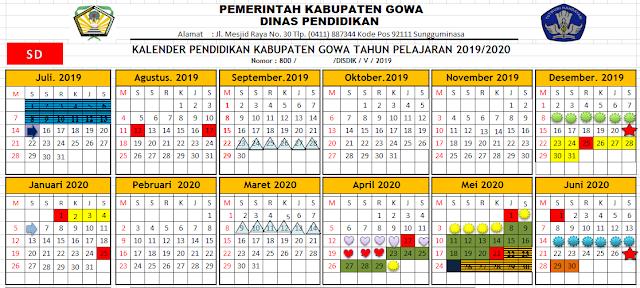K13 : Kalender Pendidikan Sd Kabupaten Gowa Tahun Pelajaran 2019-2020