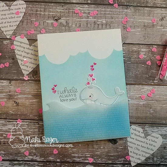 Whale Valentine Card by Naki Rager | Tides of Love Stamp Set, Sea Borders Die Set and Clouds Stencil Newton's Nook Designs #newtonsnook #handmade