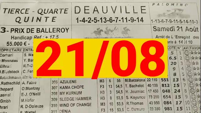 programme quinté+ Pronostic quinté samedi 21/08/2021
