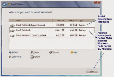 Partisi baru windows 7