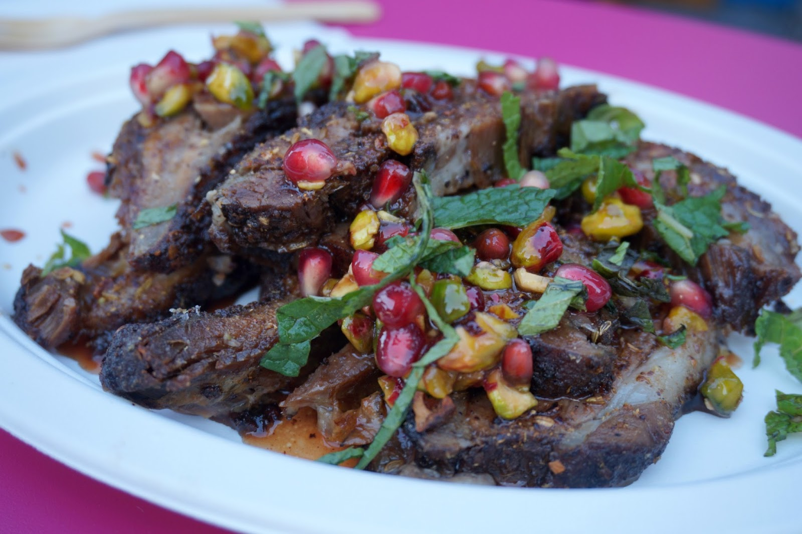 Lebanese lamb shoulder with pomegranate seeds