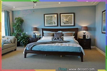 طلاء غرف نوم باللون تركواز ورمادي