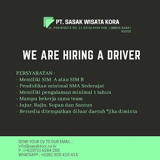 Info Lowongan Kerja Driver/Supir PT. Sasak Wisata Kora Lombok