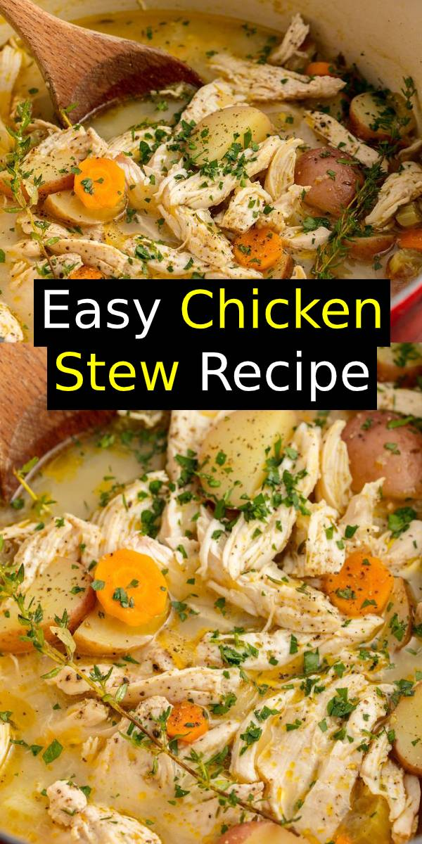 This Easy Chicken Stew is savory comfort in a bowl. This Chicken Stew has all of the comfort and none of the work. #easyrecipes #chicken #stew #soup #comfortfood