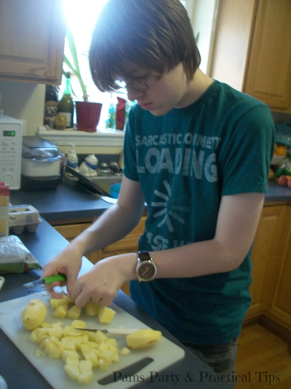 Cutting potatoes for homemade potato salad