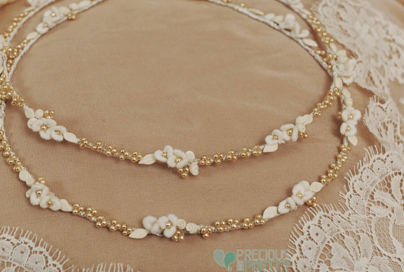 Wedding crowns with golden pearls