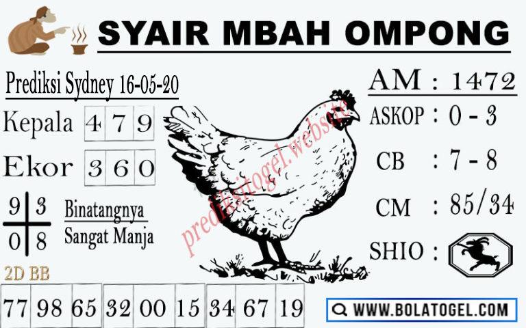 Prediksi Togel Sydney Sabtu 16 Mei 2020 - Syair Mbah Ompong