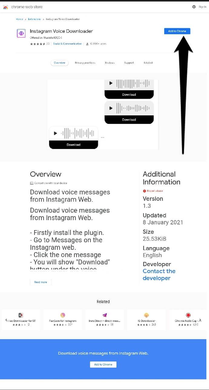Instagram voice message downloader