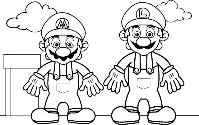 Gambar Mewarna Super Mario & Luis