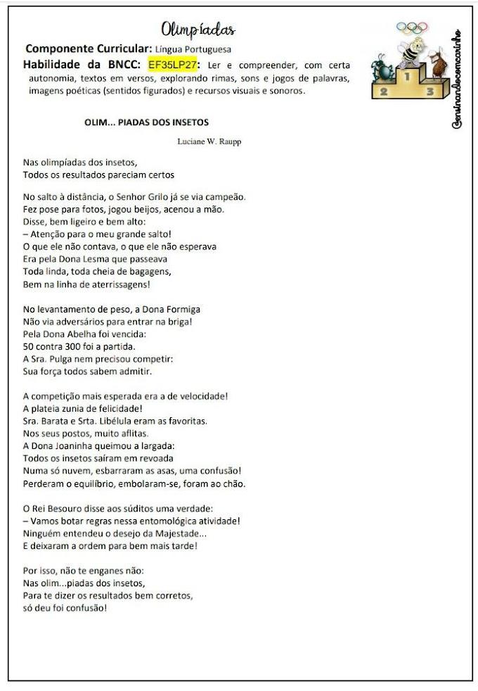 Atividade para trabalhar o tema olimpíadas com o poema olim...piadas dos insetos
