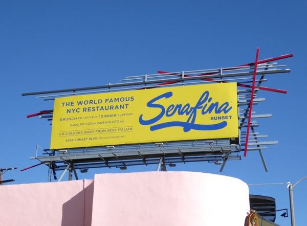 Serafina Sunset restaurant billboard