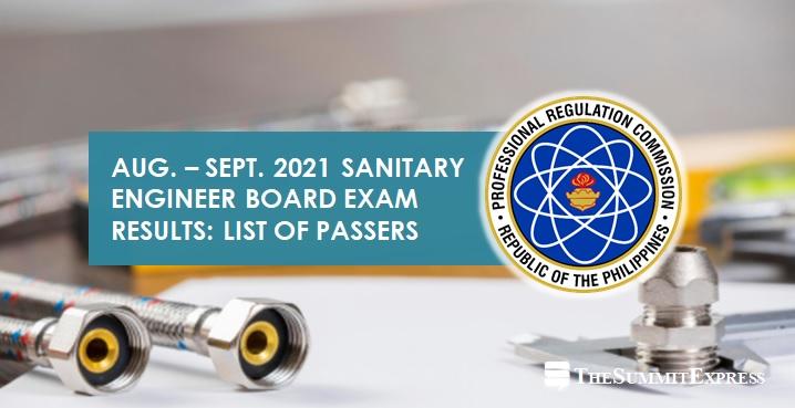 RESULTS: August-September 2021 Sanitary Engineer board exam passers