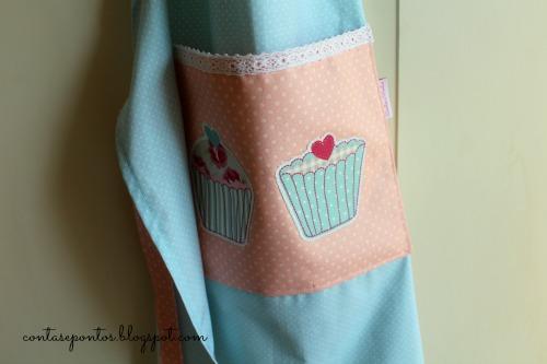 Avental em tecido - cupcakes