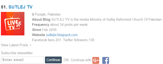 Sutlej TV 24/7 has been Rated on #81 in Top 100 Christian Blogs