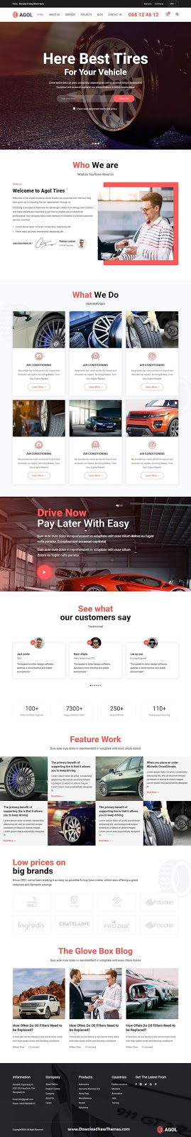Tire and Car Repair website Template