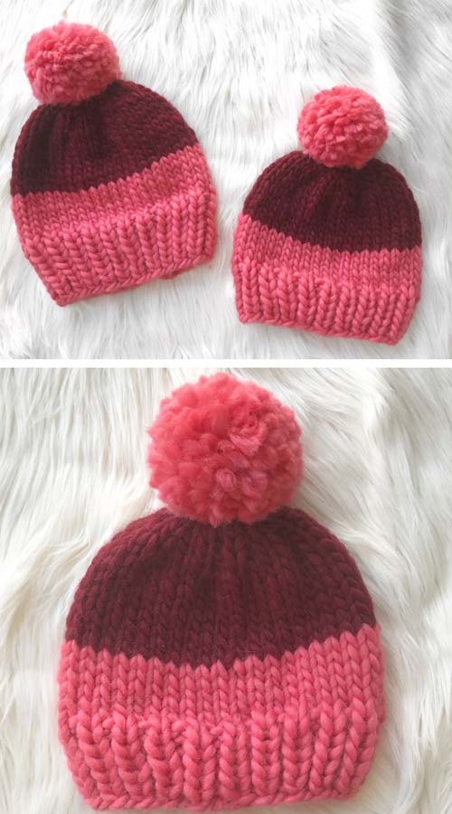 Two-Tone Chunky Beanie - Free Knitting Pattern