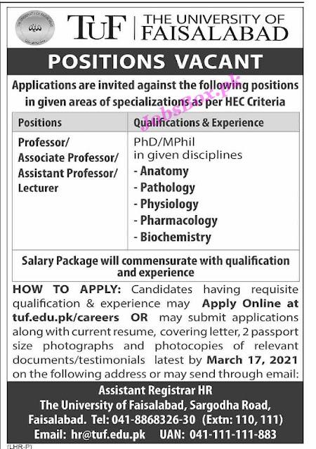 The-university-of-faisalabad-tuf-jobs-2021-latest-apply-online