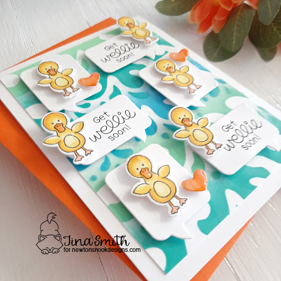 Get Wellie Soon Card & Video by Tina Smith | Newton's Rain Boots Stamp Set, Speech Bubbles Die Set and Waves & Splashes Stencil by Newton's Nook Designs #newtonsnook #handmade