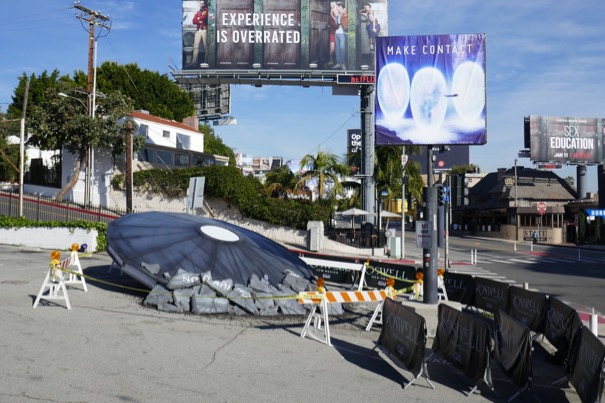 Roswell Crashed flying saucer installation Sunset Strip