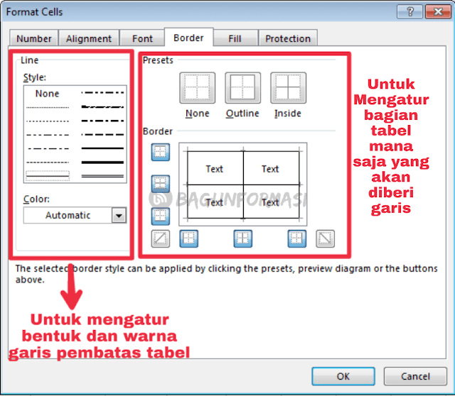 cara membuat garis tabel dalam Microsoft excel