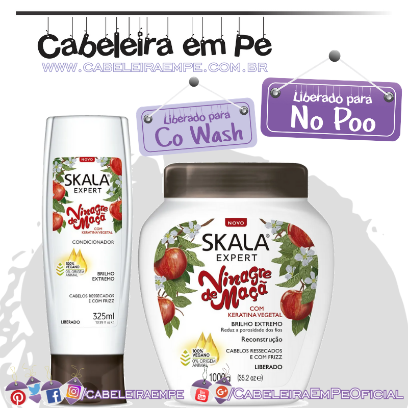 Condicionador e Creme de Tratamento Vinagre de Maçã - Skala (No Poo)