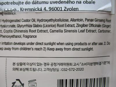 Prírodná pleťová maska Secriss - Červený ženšen ingrediencie
