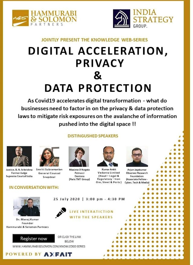[Online] Knowledge web-series on Digital Acceleration, Privacy & Data Protection by Hammurabi and Soloman Partners [Register Soon]