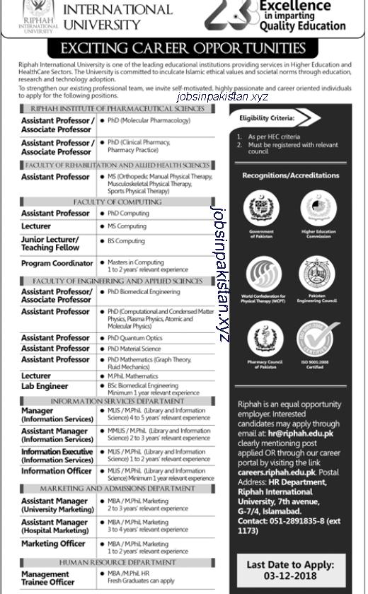 Advertisement for Riphah International University Jobs 2018