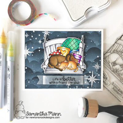 Life is Better with a Friend Like You Card by Samantha Mann for Newton's Nook Designs, Distress Inks, Stencil, Embossing Paste, Zig Clean Color Real Brush Markers, Cards, Handmade Cards #newtonsnook #stencil #nightsky #friends #porchswing