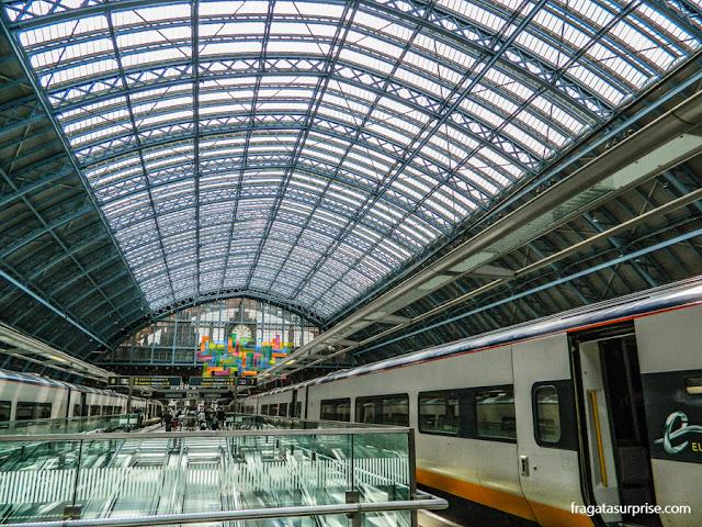Chegada do trem Eurostar em Londres, na Estação Saint Pancrass