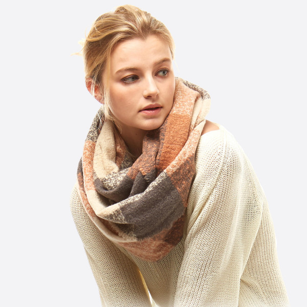 warm and cozy winter rust, brown, and cream plaid infinity scarf