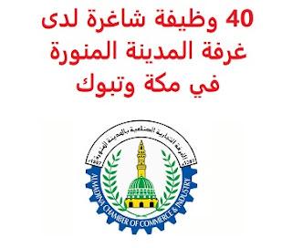 40 وظيفة شاغرة لدى غرفة المدينة المنورة في مكة وتبوك saudi jobs تعلن غرفة المدينة المنورة, عن توفر 40 وظيفة شاغرة في القطاع الخاص, للعمل في مكة المكرمة وتبوك وذلك للوظائف التالية:       وظائف مكة المكرمة 1- فني تكنولوجيا المعلومات والاتصالات       (وظيفتان) 2- مهندس أنظمة أمنية                    (أربع وظائف) 3- فني شبكات هاتف                           (وظيفتان) 4- فني أجهزة مكتبية                             (وظيفتان) 5- فني حاسب آلي                               (وظيفتان) 6- فني الكترونيات شبكات حاسب آلي    (وظيفتان) 7- فني الكترونيات إنذار حريق               (وظيفتان) 8- فني الكترونيات                               (وظيفتان)       وظائف تبوك 1- مساعد إداري إمداد وتموين                 (وظيفتان) 2- مسوؤل جودة                                    (وظيفتان) 3- مسوؤل سلامة                                  (وظيفتان) 4- مساح                                               (وظيفتان) 5- حاسب كميات                                    (وظيفتان) 6- مراقب عمال                                     (وظيفتان) 7- مدير موقع                                        (وظيفتان) 8- مراقب مدني ومعماري                       (وظيفتان) 9- مهندس مدني                                   (وظيفتان) 10-إداري إمداد وتموين   للتقدم لأيٍّ من الوظائف أعلاه اضغط على الرابط هنا أنشئ سيرتك الذاتية    أعلن عن وظيفة جديدة من هنا لمشاهدة المزيد من الوظائف قم بالعودة إلى الصفحة الرئيسية قم أيضاً بالاطّلاع على المزيد من الوظائف مهندسين وتقنيين محاسبة وإدارة أعمال وتسويق التعليم والبرامج التعليمية كافة التخصصات الطبية محامون وقضاة ومستشارون قانونيون مبرمجو كمبيوتر وجرافيك ورسامون موظفين وإداريين فنيي حرف وعمال