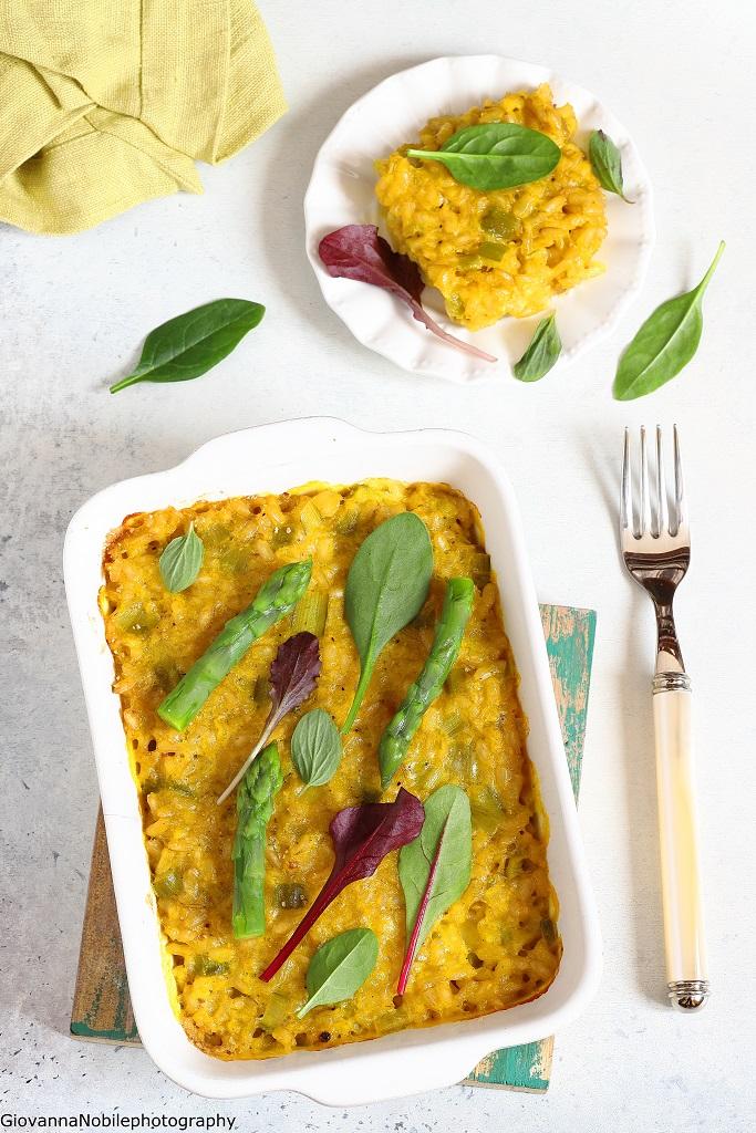 Tortino di riso integrale con mozzarella e asparagi
