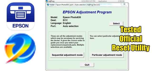 Epson Stylus Photo 830 Adjustment program (Reset Utility) Free Download