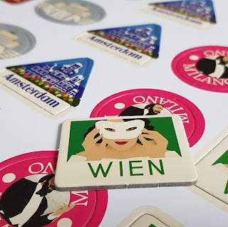 The Great Tour Family Board Game country tokens Wien Vienna