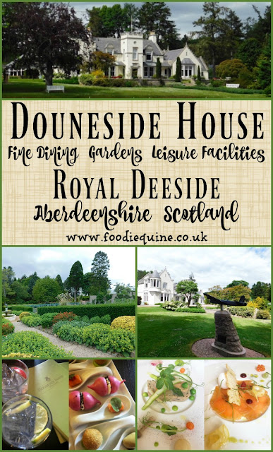 www.foodiequine.co.uk Fine Dining at Douneside House, Aberdeenshire, Scotland.A visit to an historic luxury country house hotel in the heart of Royal Deeside. Fine dining, a range of leisure facilities, stunning gardens and impeccable levels of service.