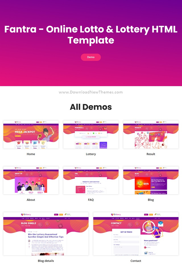 Online Lotto and Lottery HTML Template