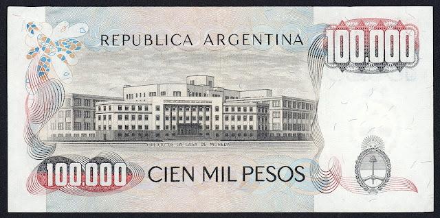 Argentina Banknotes 100000 Pesos banknote 1980 Argentine Mint - Casa de Moneda de la República Argentina