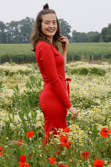 Red Belted One Shoulder Jumpsuit - Evelyn Femme Luxe