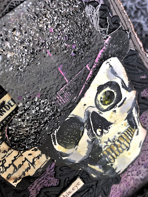 Sara Emily Barker https://sarascloset1.blogspot.com/2018/10/a-gleam-in-his-eye.html A Gleam In His Eye Tim Holtz Stampers Anonymous Sizzix Alterations Halloween Card 5