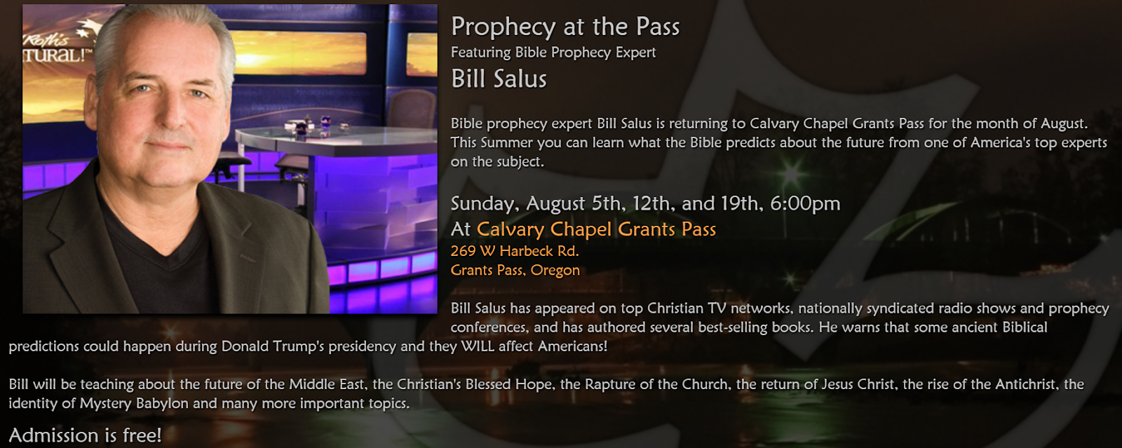 Upcoming Bill Salus Events in August