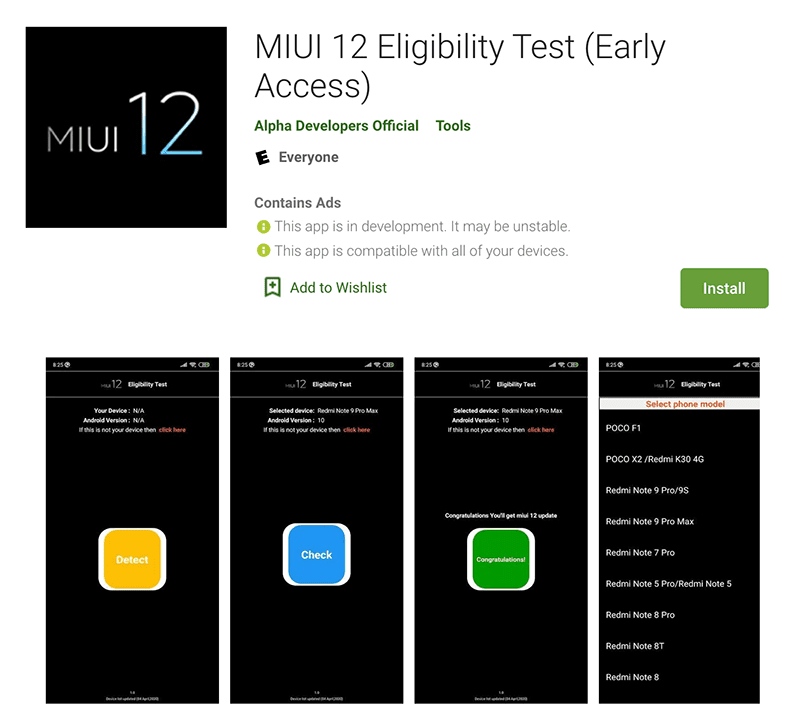 MIUI 12 Eligibility Test app on Google Play Store
