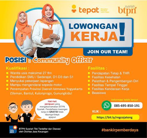 Lowongan Kerja Bank Btpn Syariah Posisi Community Officer Wanita Jogja Area Loker Swasta