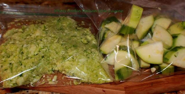 chopped and shredded zucchini in freezer bags