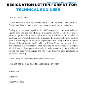 Resignation letter format for Technical Engineer